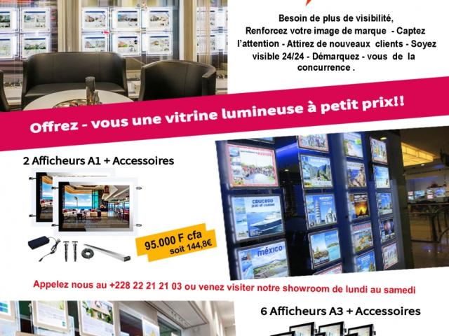 Spéciale Promo de Porte-affiches lumineux pour vos vitrines et intérieurs.